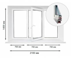 ProWin 58 трехстворчатое окно