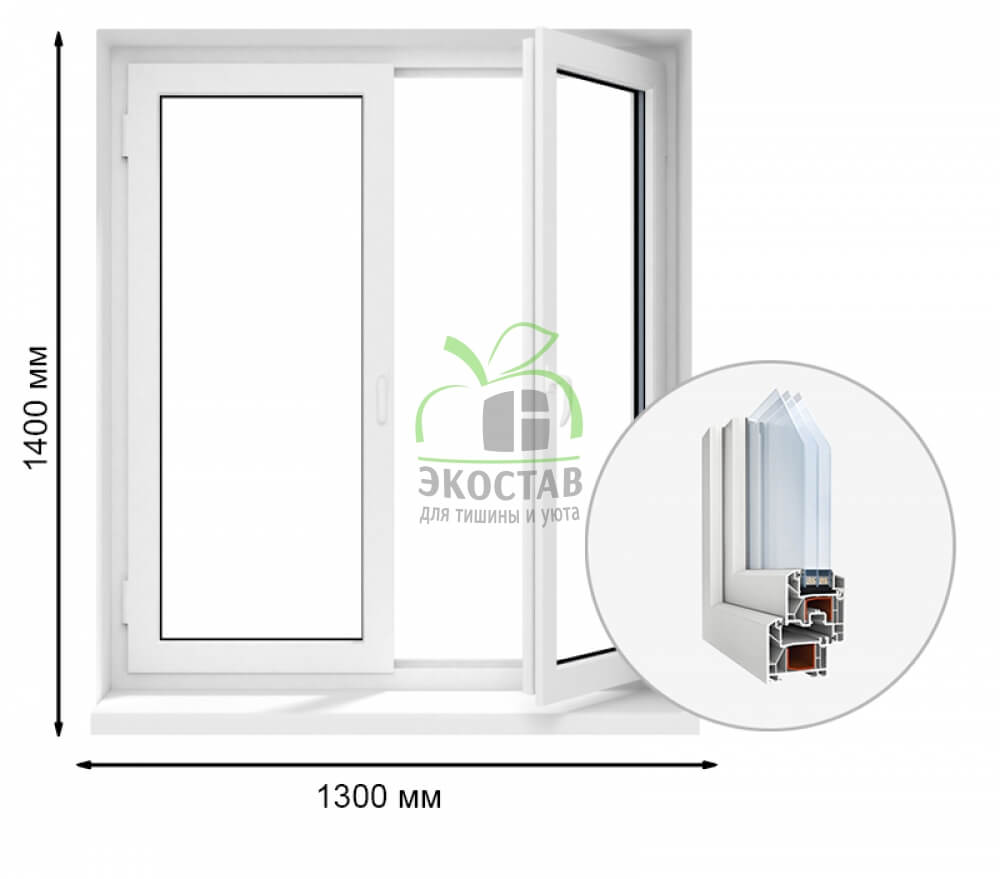 ProWin 70 двухстворчатое окно