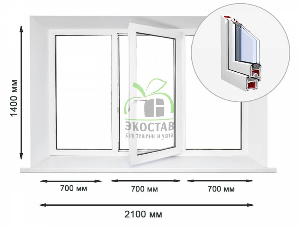 KBE 58 трехстворчатое окно